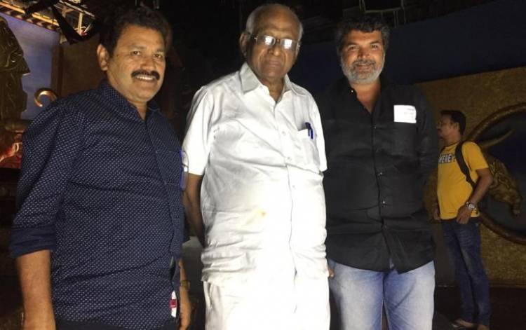 Veteran filmmaker SP Muthuraman pays surprise visit to 'Dharma Prabhu' shooting spot