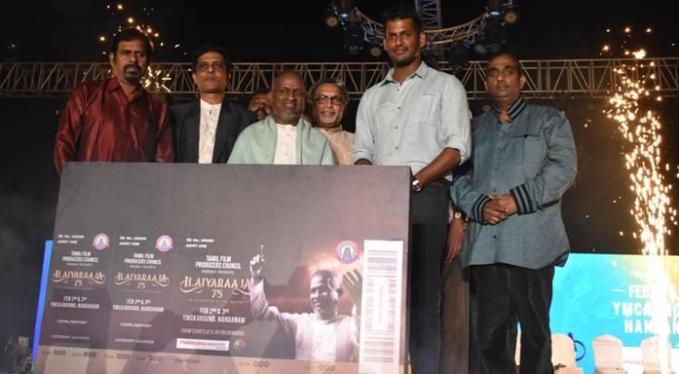 Maestro Ilayaraja and Vishal felicitated at International Hot Air Balloon festival