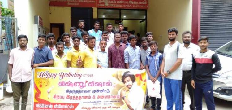 Vishnu Vishal Fans Celebrated Birthday By Donating Blood Stills