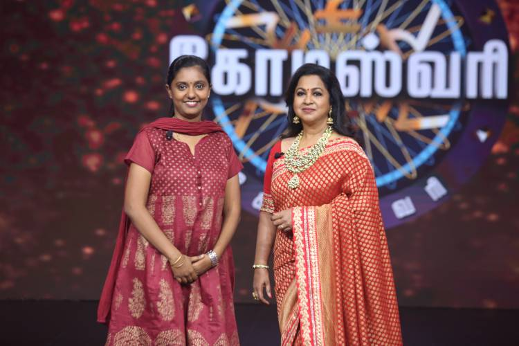 "Witness the dream of Valli Kannu being fulfilled on the first episode of the much-awaited game show ""Kodeeswari"""