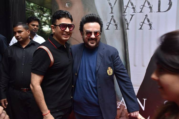 Bhushan Kumar and Adnan Sami get clicked during the song launch of Tu Yaad Aya!