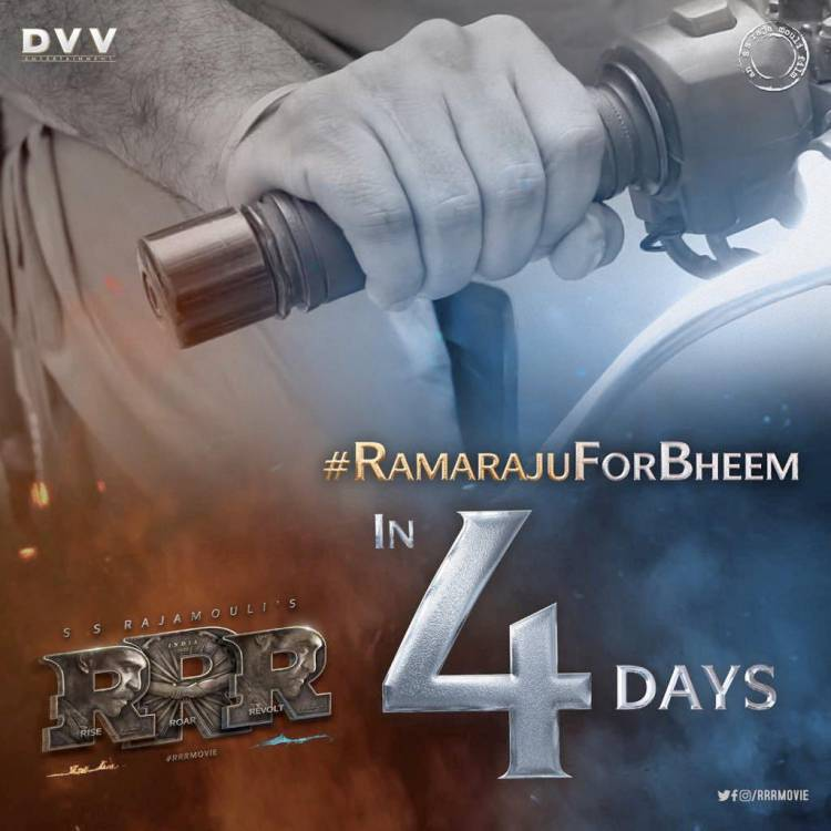 Gear up...   BHEEM is ARRIVING in 4 Days...  #RRRMovie #RamarajuForBheem