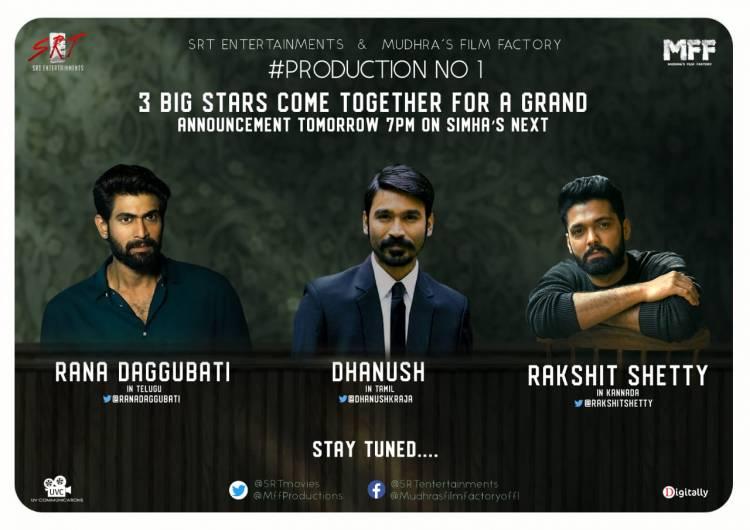 Top Indian Stars @dhanushkraja, @RanaDaggubati and @rakshitshetty will launch #SRTMFFProductionNo1