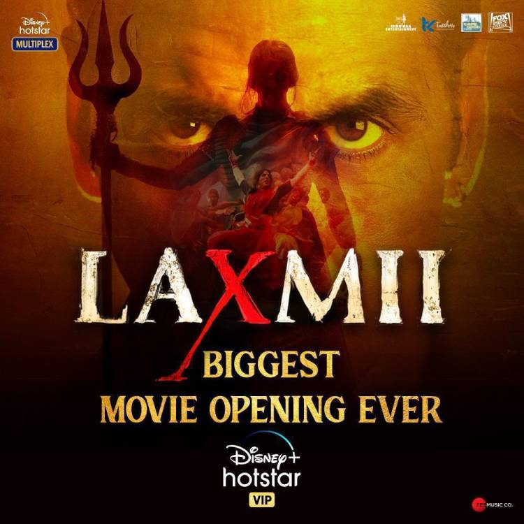 @akshaykumar and @advani_kiara  starrer #Laxmii shatters records; becomes the biggest movie opening on @DisneyplusHSVIP ever.