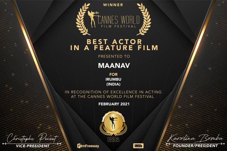 Maanav Bags Best Actor award at  Cannes World Film Festival France