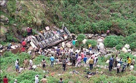 Five killed, many injured as bus falls into gorge