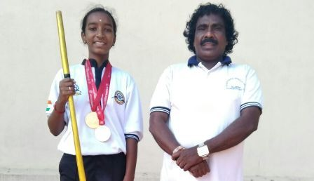 M.lathika won 2 Gold medal l in AISF - 14th National Silambam C