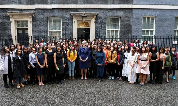 Prime Minister Rt Hon Theresa May MP felicitates 104 Indian Women STEM Scholars in the United Kingdom