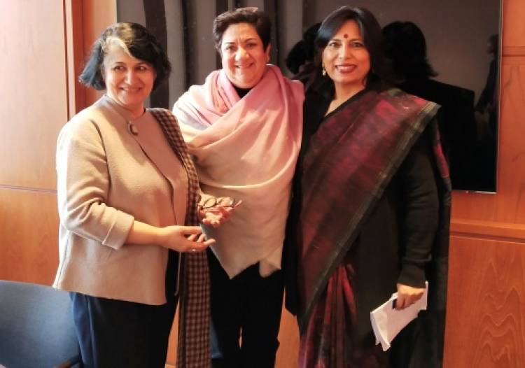 Abha Singh delivers a talk at India Dialogues at Columbia University, New York, on the #MeToo Movement