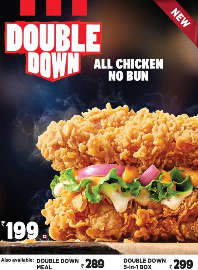 KFC India's Double Down all-chicken no bun burger is here!