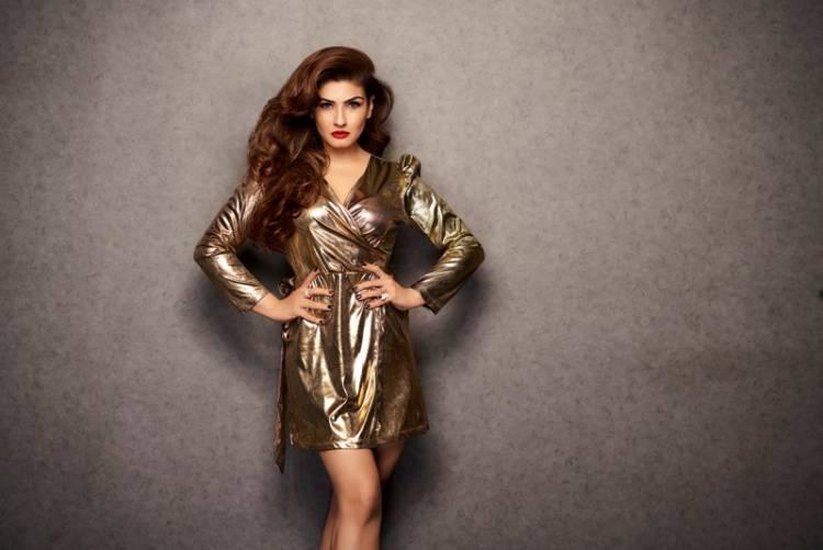 Actress Raveena Tandon spotted in Ashima Sharma outfits for a fashion shoot