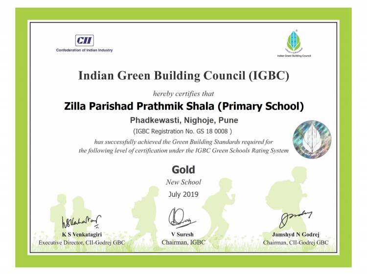 Zilla Parishad Primary School constructed by Volkswagen India receives Gold certification for National Excellence by the Indian Green Building Council