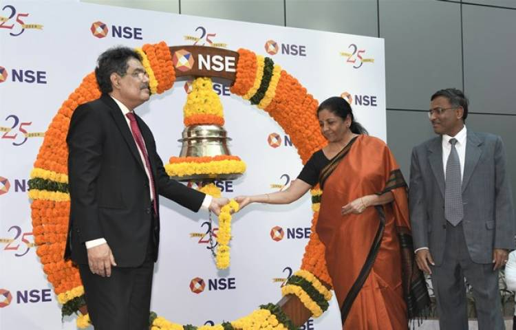 Smt Nirmala Sitharaman Hon'ble Minister of Finance and Corporate Affairsrings Closing Bell at NSE to celebrate 25 years of democratizing Capital Market in India