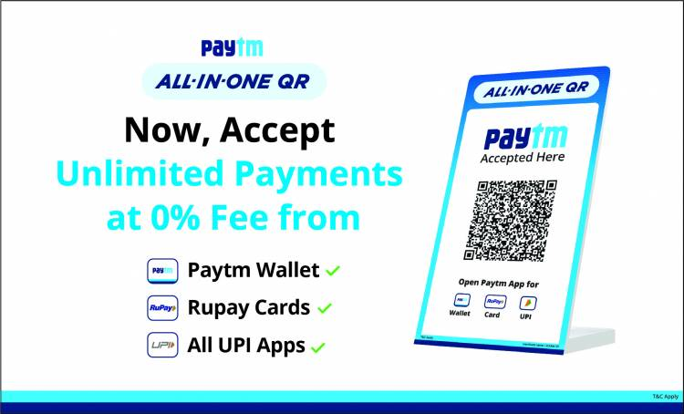 Paytm launches All-in-One QR for merchants with unlimited payments at 0