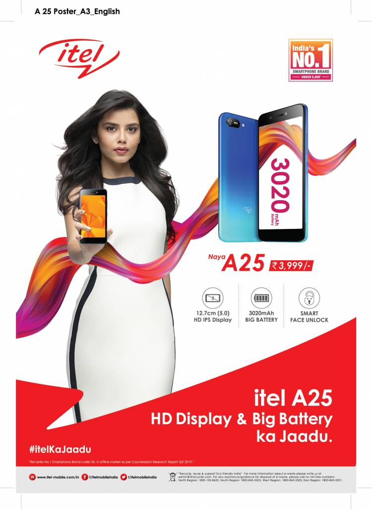 itel launches A25 - India's 1st Smartphone with HD Display and Big Battery in less than 4K