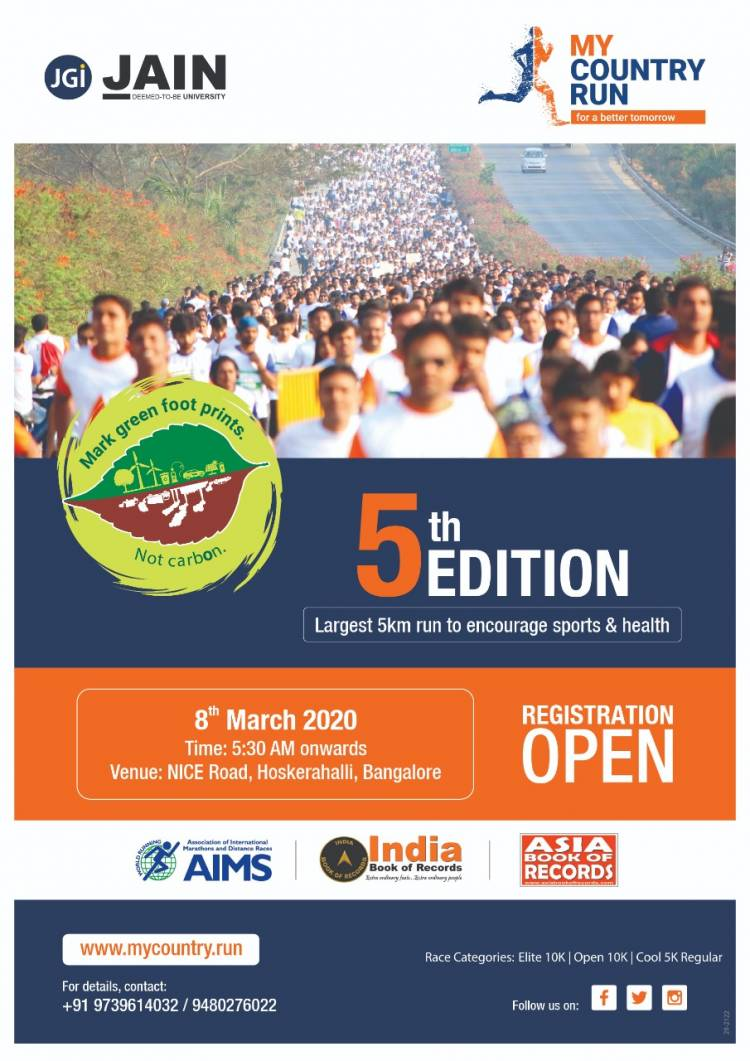 Bengaluru's largest 5km Run – My Country Run, Edition 5 on  March 8th 2020
