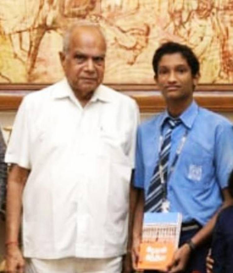 VELAMMAL'S  YOUNG SCIENTIST HONOURED BY GOVERNOR OF TAMILNADU