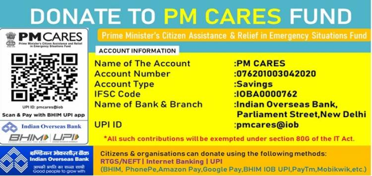 Government of India designates Indian Overseas Bank for Collection of PM CARES FUND