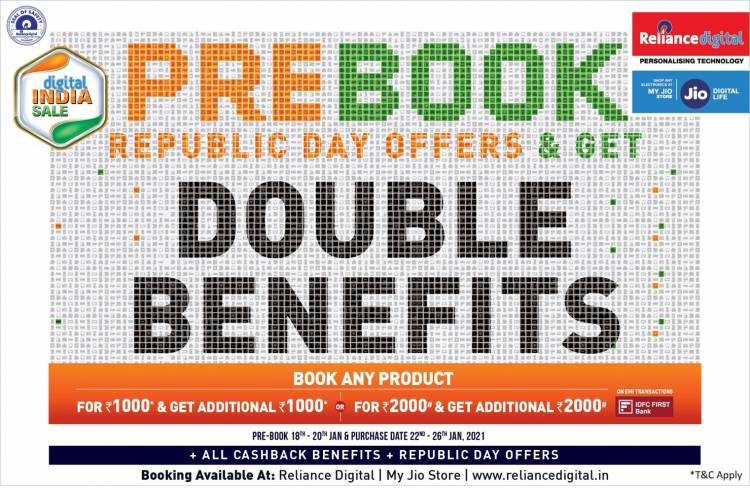 RELIANCE DIGITAL OFFERS BIGGER SAVINGS ON PRE-BOOKING FOR REPUBLIC DAY DIGITAL INDIA SALE